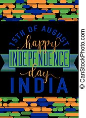 Vertical creative vector illustration of felicitation India independence day 15 august with lettering, typography elements, ribbon, indian flag color on line background in flat style. For print web