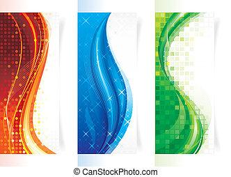 vertical, curva, bandeiras