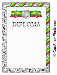 Vertical diploma for second place in a sports competition, silver color with a ribbon the color of the flag of Sao Tome and Principe. Vector image.