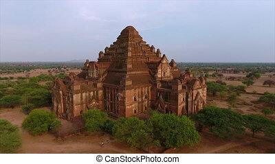 Vertical dolly shot of old Bagan stupas, Myanmar - Wide...