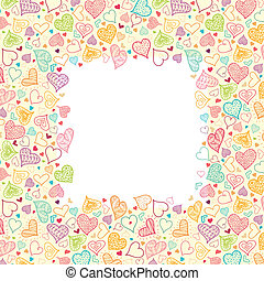 vertical, doodle, quadro, fundo, corações, borda