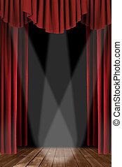 Vertical Drapes With Spotlight - Red Vertical Draped Theatre...