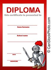 Vertical Education diploma Frame with the knights set on red background