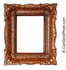Vertical empty copper picture frame with white background - Stock image