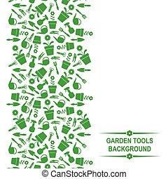 vertical, ferramentas, jardim, fundo
