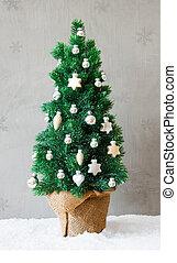 Vertical Fir Tree, Snow, Christmas Ball