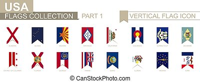Vertical flag icon of U.S. states