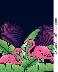 Vertical flamingo background