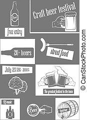 vertical, flyer., fest, two-color, cerveja, arte