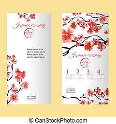 Vertical flyer or brochure with cherry blossom or sakura tree. Painted by watercolor. Corporate identity flyer design with logo element.