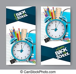 Vertical flyers welcome back to school concept with 3d realistic stationery. Vector illustration.