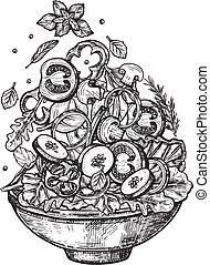 Vertical flying healthy salad ingredients in dish