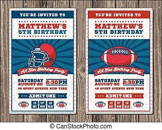 Vertical Football vector invite tickets