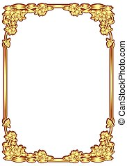 Vertical frame vintage Design of Thailand. Flower square shape with golden color for invitation card, painting frame and printing.