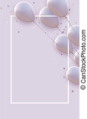 Vertical frame with matt white balloons with threads on white background. Stars confetti. Space for text. Vector festive illustration.