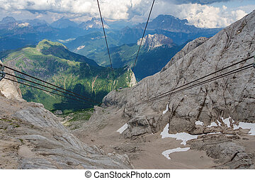 vertical, funiculaire, contre, rocher, roues, câbles