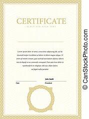 vertical, gabarit, certificat, et, diplômes