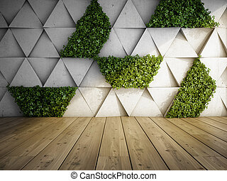 Vertical garden in modern interior - Wall in modern interior...