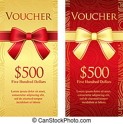 Vertical gold and red voucher with ribbon and swirl pattern...