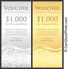Vertical gold and silver gift certificate with victorian decoration