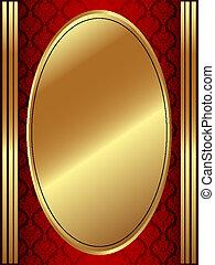 Vertical gold oval frame