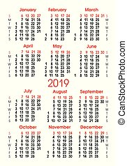 vertical, grade, números, calendário, 2019., alinhamento