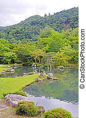 Vertical green plants, fish, lake with reflection in Japan zen garden