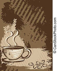 Vertical grungy coffee background