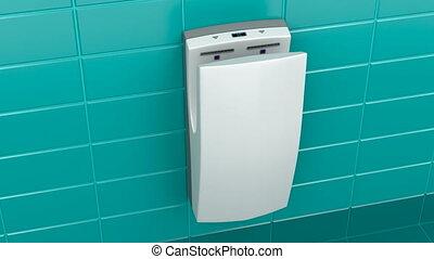 Vertical hand dryer in public toilet