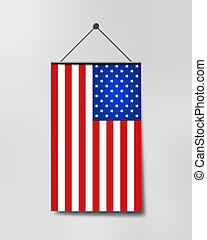 Vertical hanging US flag - Hanging US flag. Illustration USA...