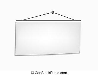 Vertical hanging white banner - vector illustration.