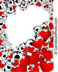 vertical heart frame in red and black