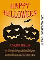 Vertical Helloween poster with two pumpkins. Vector illustration