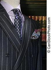 (vertical), hemd, paarse , jas, vastknopen, gestreepte