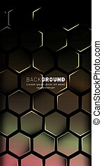 Vertical hexagon background. Gradient color light pattern with dark background technology style. Honeycomb. Vector illustration of light.