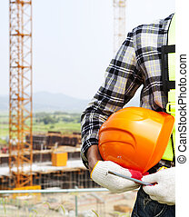 Vertical image construction safety concept, Close-up ...