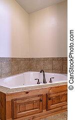 Vertical Interior of a modern bathroom with corner bath