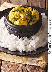 vertical, korma, basmati, indien, close-up., poulet, riz