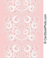 Vertical lace seamless ribbon with roses. White lacy on a pink background.