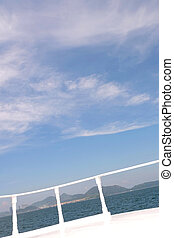 Vertical landscape in the boat