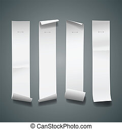 vertical, largo, papel, blanco, rollo, tamaño
