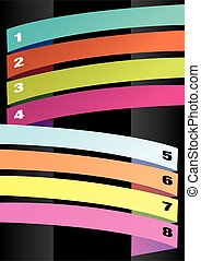 Vertical Layout with Colorful Numbered Strips