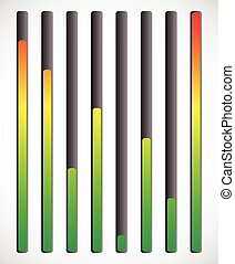 Vertical level indicator set with color code (Red at high...