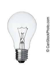 Vertical light bulb on a white background