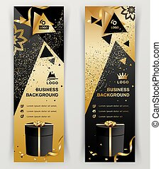 Vertical luxury gold black banners. Ornamental flower elements, black gift and triangle design elements