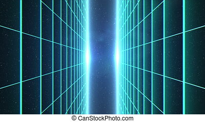 Vertical matrix grid moving towards camera in space - ...