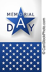 Vertical Memorial Day background  with the emblem in the form of a blue star and part of USA flag
