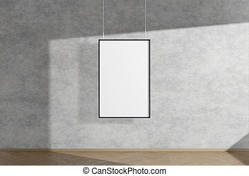 Vertical mock up picture frame in black hanging on concrete wall simple interior dark room light and shadow of the window. 3D rendering