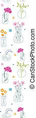 vertical, modèle, seamless, fond, vases, fleurs fraîches