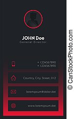 Vertical modern Business Card with place for logo or photo. Black and red colors. Vector template.
